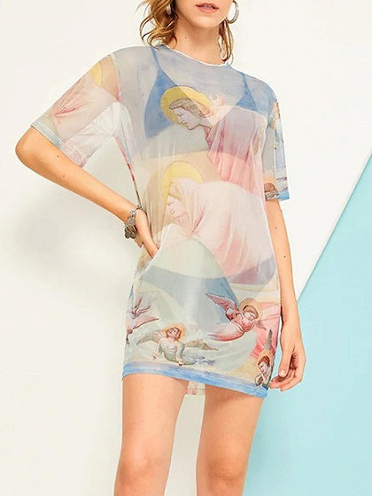 Light Blue Angel Print Sheer Mesh Mini Dress