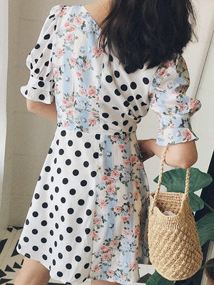 Multicolor V-neck Polka Dot And Floral Print Puff Sleeve Mini Dress