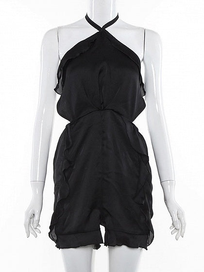 Black Halter Ruffle Trim Open Back Romper Playsuit