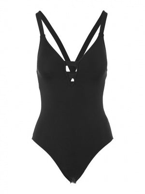 Black Plunge Cut Out Padded One-piece Swimsuit