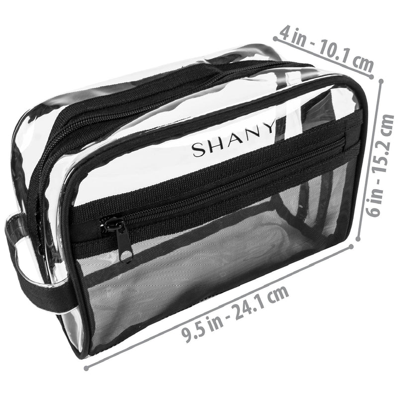 SHANY Clear Toiletry Makeup Bag - Black Mesh -  - ITEM# SH-PC19-BK - Makeup toiletry bag cosmetic organizer pouch purse,Travel makeup women girls train case box storage,Kate spade victorias secret hello kitty lesportsac,Container handbag gadget zipper portable luggage,Large small hanging compartment professional kits - UPC# 700645941842