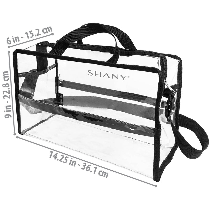 SHANY Clear PVC Travel Tote Bag with Shoulder Straps and Zippered Pockets -  - ITEM# SH-PC16-BK - Part of SHANY's new line of travel bags, the Clear PVC Travel Tote Bag is a highly versatile cosmetics tote that is see-through and flexible, making it easy to group, view and carry cosmetics. The water-resistant can
