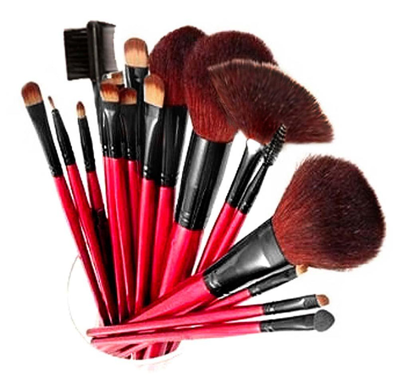 SHANY Professional 12 - Piece Cosmetic Brush Set with Pouch - RED - SHOP 12PC - BRUSH SETS - ITEM# SH-13PCBRUSH-RD