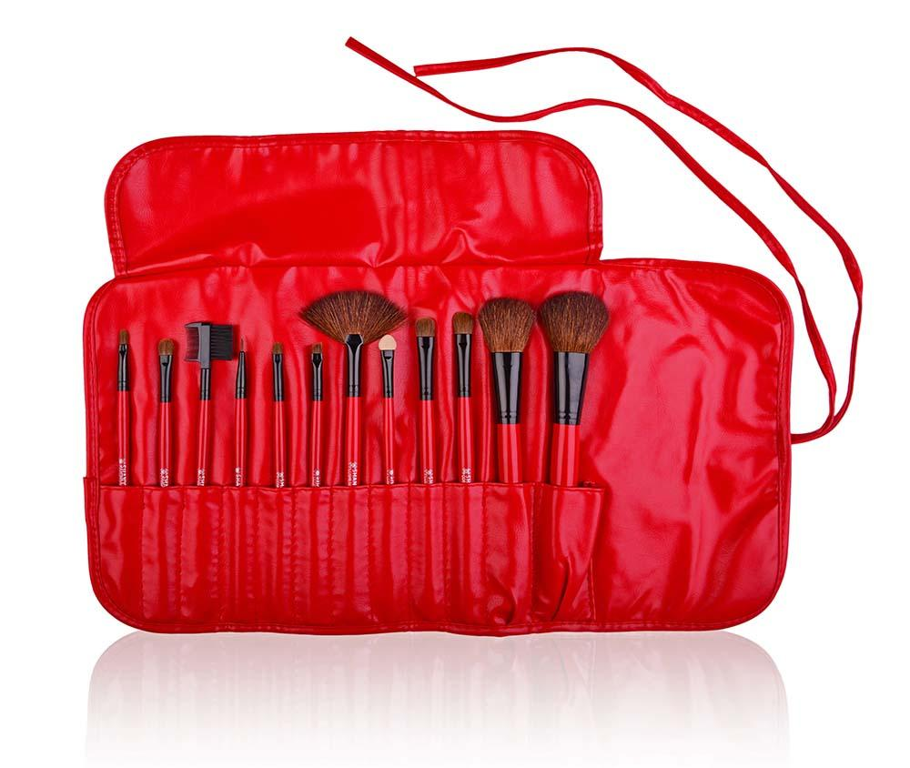 SHANY Professional Goat Brush Set- Red- 12pc - 12PC - ITEM# SH-13PCBRUSH-RD - makeup contour brush set kit women airbrush eye,face essential cosmetics case eyeshadow eyeliner,foundation blending blusher lip powder liquid bag,highlighter holder synthetic urban decay cream,ecotools professional mermaid elf vanity morphe - UPC# 654367284230