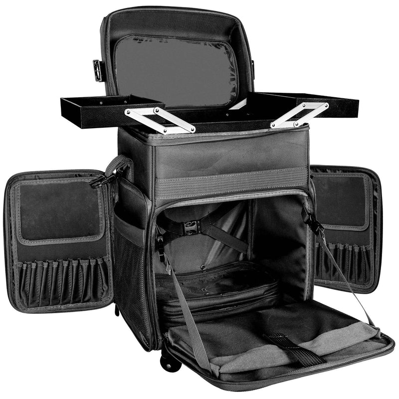 - BLACK - ITEM# SH-P80-PARENT - SHANY Soft Rolling Makeup Trolley Case with multiple compartments is made from durable fabric and can handle extreme weather all year long. This traveling makeup case measures 22 x 12 x 15 inches. The ergonomic handle and carry-on handle are added for ease of use when traveling. The ca