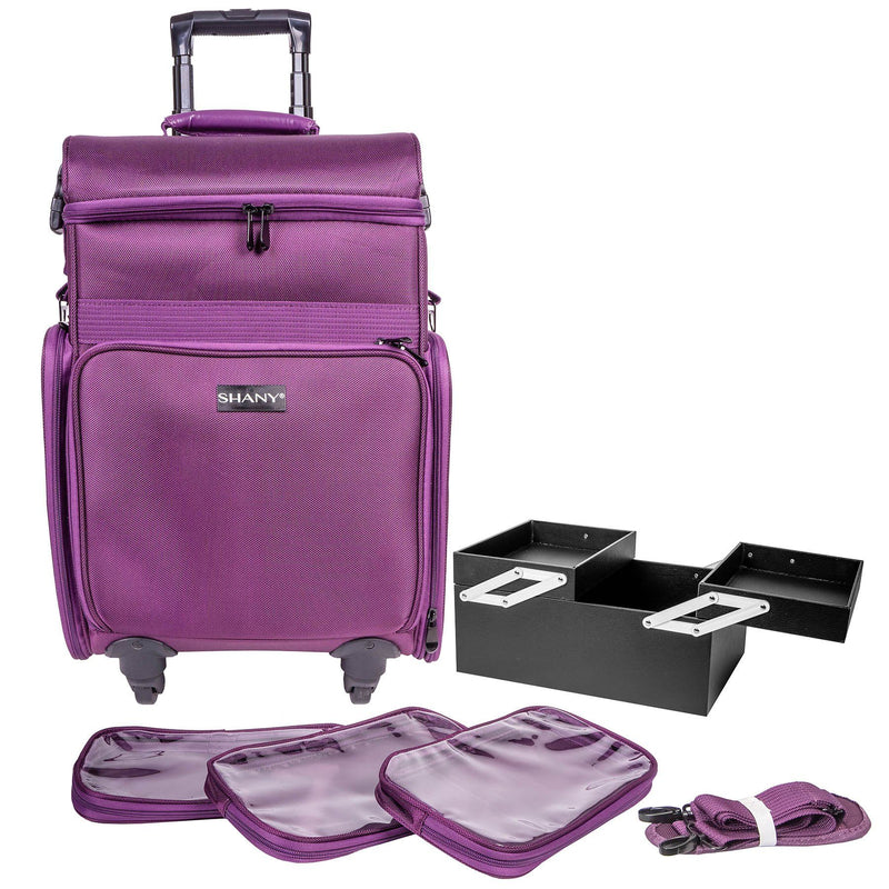 "SHANY Soft Rolling Makeup Trolley Case - Multiple Compartments - PURPLE - PURPLE - ITEM# SH-P80-PR - SHANY Soft Rolling Makeup Trolley Case with multiple compartments. Made from durable fabric and can handle extreme weather all year long. This traveling makeup case measures 22"" height, 15"" width and 12"""