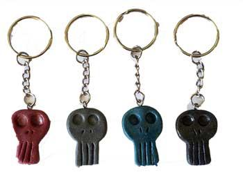 "1 1-4"" Resin Skull Key Ring (assorted Colors)"