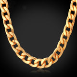 18K Gold/Rose Gold/Platinum Plated Chunky Carb Cuban Link Chain Necklace