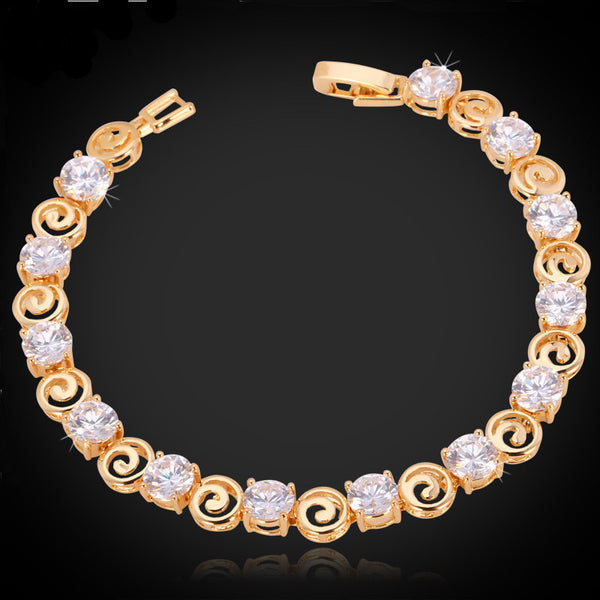 Unique Luxury Design Cubic Zirconia 18K Gold/Platinum Chain Bracelet