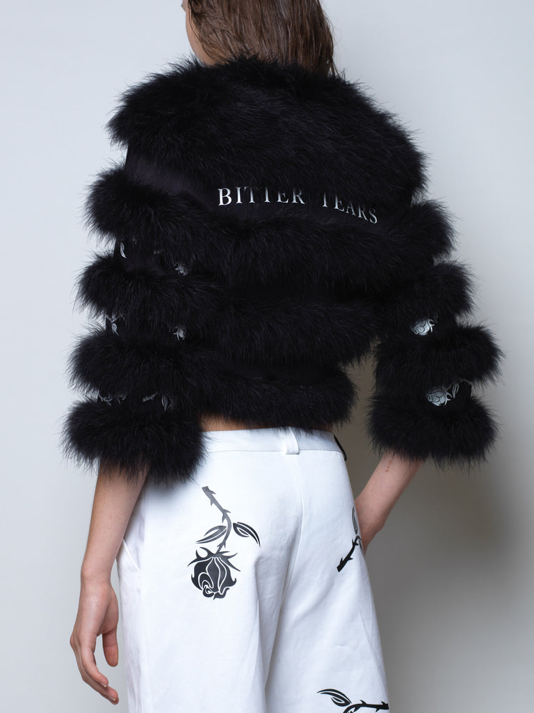 'bitter tears' marabou feather bomber