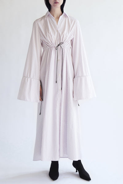 maxi shirt dress in pink white shirting cotton