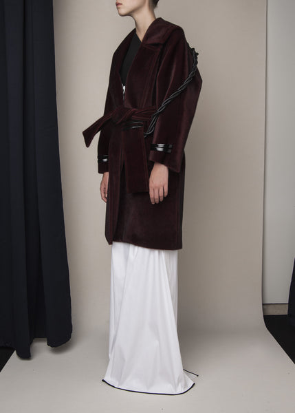 oversized coat in oxblood faux pony material