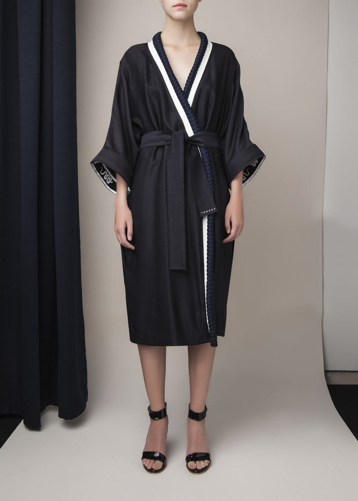 belted morning robe in navy blue silk