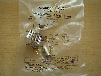 N type crimp plug for RG-58, 141, 142A made by Amphenol