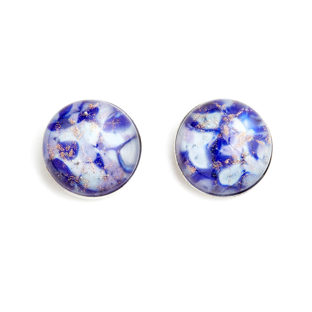 """Clearing Clouds"" Glass Crafted Stud Earrings - Fenton Glass Jewelry"