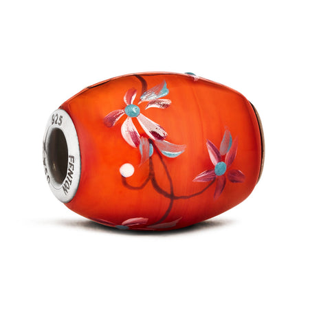 """Coral Bouquet"" Glass Cornerstone Bead"