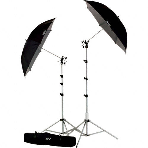 Smith-Victor UK2 Umbrella Kit with RS8 Stands, 45BW Umbrellas and Cold Shoe Mount