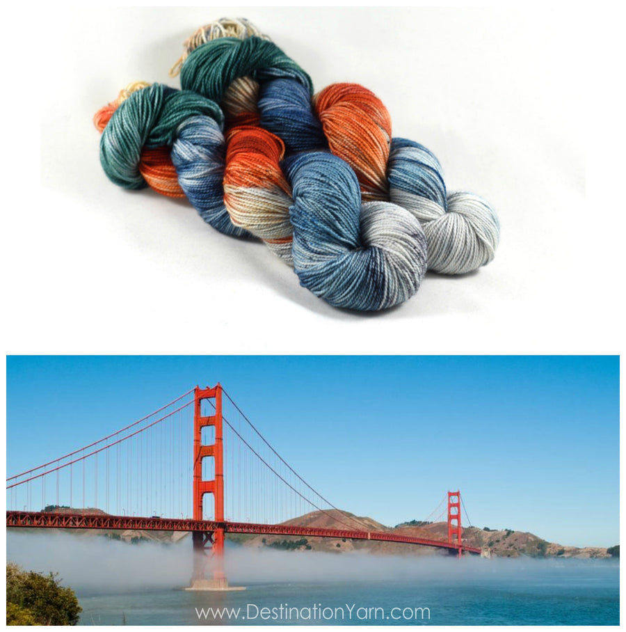 Destination Yarn fingering weight yarn Golden Gate