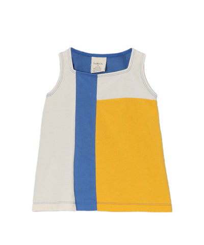 Cream, Yellow & Olympic Blue Organic Sleeveless Mondrian Style Dress