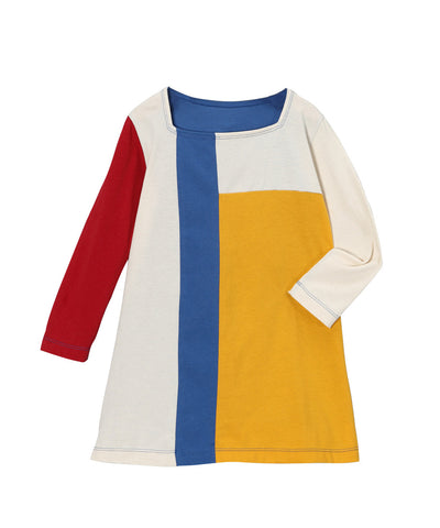 Cream, Yellow & Blue Organic Long Sleeve Mondrian Style Dress