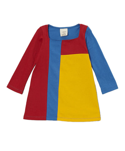 Red & Yellow Organic Long Sleeve Mondrian Style Dress