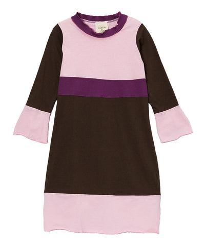 Chocolate, Plum & Pink Organic Long Sleeve Frill Neck Piece Dress