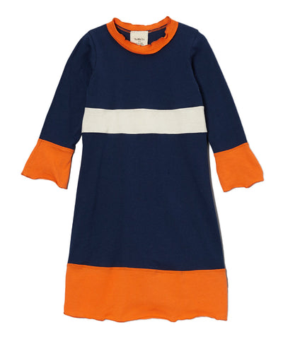 Navy Blue, Orange & Cream Organic Long Sleeve Frill Neck Piece Dress