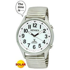 ATOMIC SOLAR TALKING WATCH! SENSES Sets Itself Solar Power Stylist Talking Watch (TC-1035)