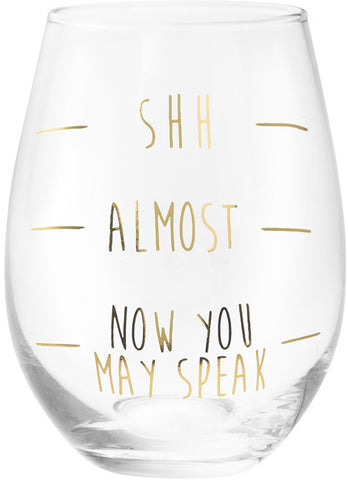Shhh... Lined Gold Wine Glass