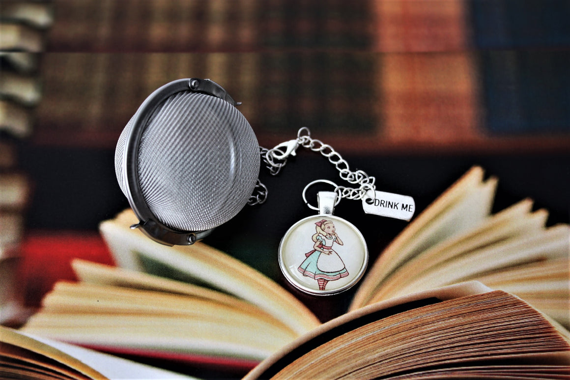 Alice In Wonderland Inspired Tea Infuser With Glass Cabochon