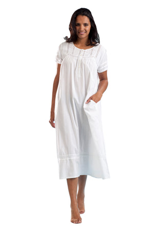 100% Cotton Cap Sleeve Embroidered Gown