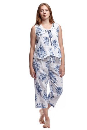 100% Cotton Blue Floral PJs