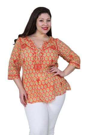 Plus Size Block Print Tunic With Tonal Embroidery
