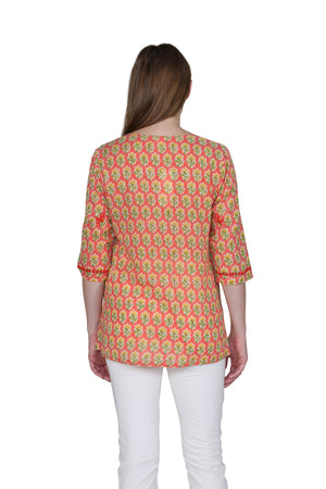 Block Print Tunic With Tonal Embroidery