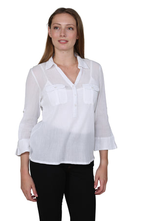 Cotton Gauze Camp Shirt