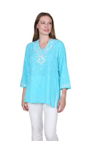 La Cera Floral Embroidered Tunic Top