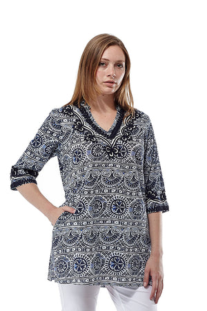 La Cera Short Sleeve Printed Tunic Top