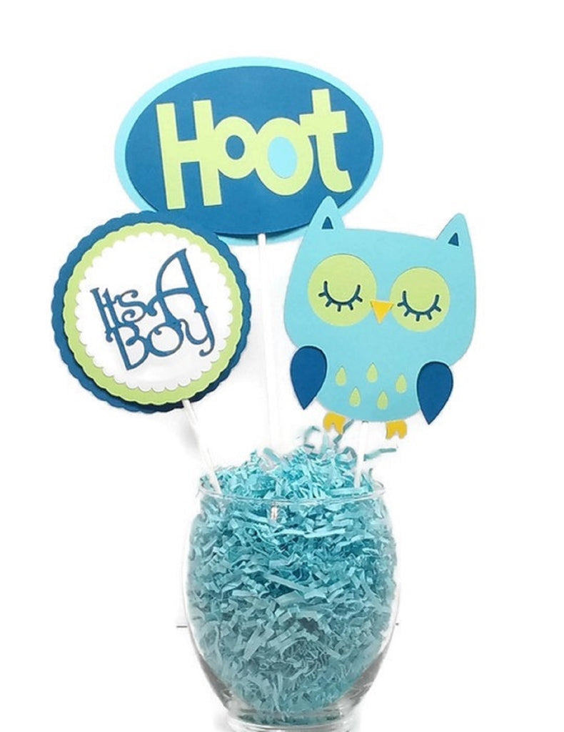 Baby Boy Blue Owl Navy & Green Cake Toppers Baby Shower Centerpiece Sticks