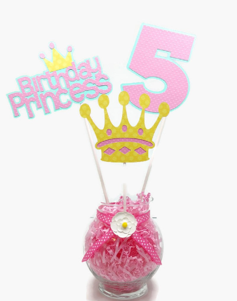 Girl Princess Birthday Centerpiece Sticks Cake Toppers with Age - Pink & Mint Green