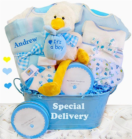 Special Delivery Baby Boy Gift Basket Keepsake Tin