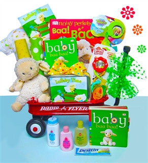 Lullaby Time Gender Neutral Baby Gift Basket Radio Flyer Wagon