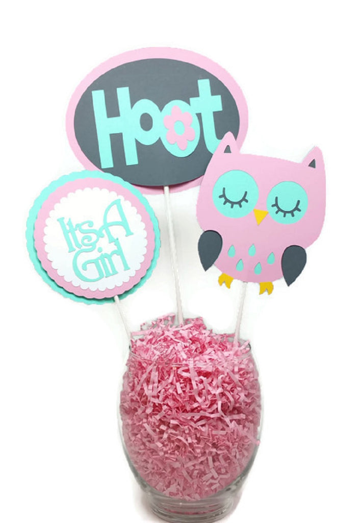 Baby Girl Pink Owl Mint Green Cake Toppers Centerpiece Sticks