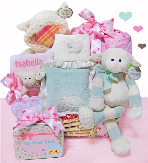 Lamb Themed Personalized Baby Girl Moses Gift Basket