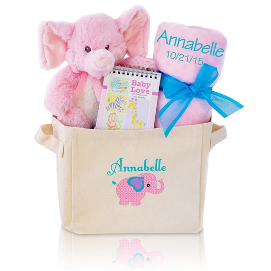 Plush Elephant Welcome Home Baby Girl Gift Basket Tote