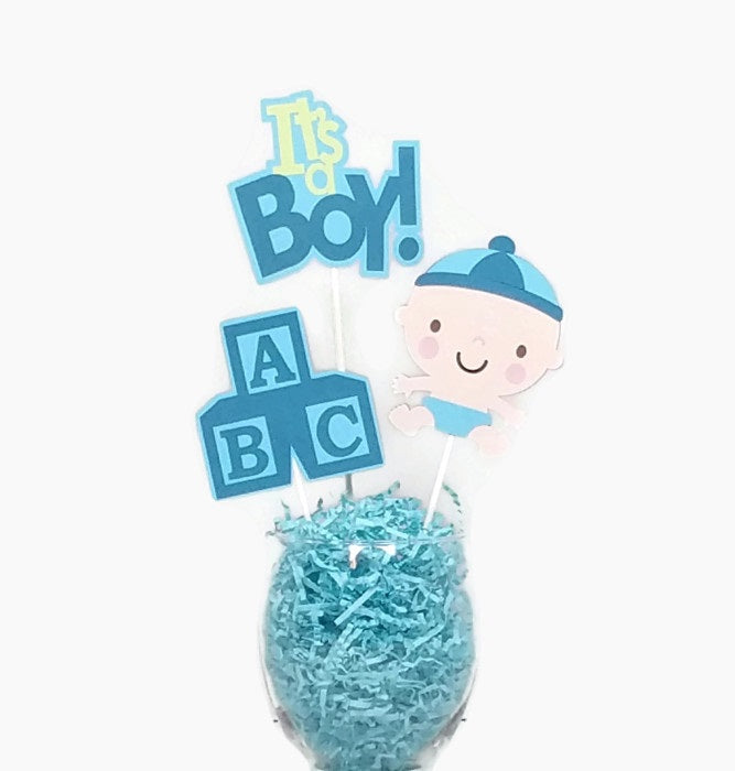 Baby Boy Centerpiece Sticks Cake Toppers with Baby Blocks Blue & Green Baby Shower Decor