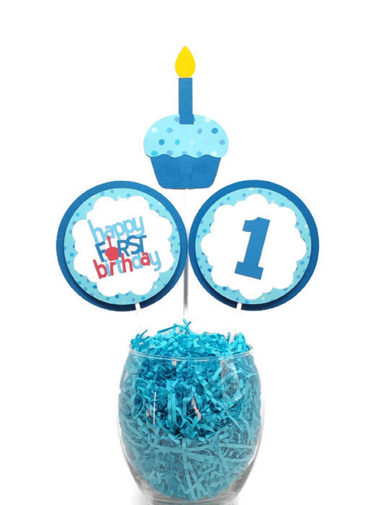 Happy First Birthday Boy Centerpiece Sticks Birthday Party Decorations Baby Boy Cake Toppers Blue Cupcake