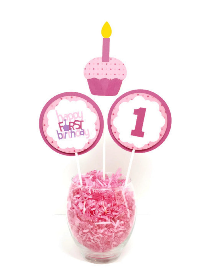Happy First Birthday Girl Centerpiece Sticks Birthday Party Decorations Baby Girl Cake Toppers Pink Cupcake
