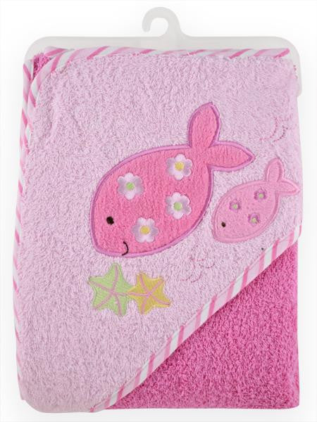 Pink Fish Baby Girl Hooded Bath Towel