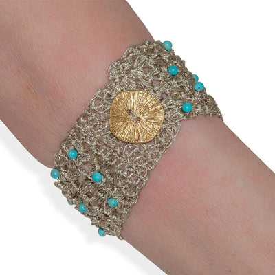 Handmade Gold Plated Knit Bracelet with Turquoise Stones - Anthos Crafts