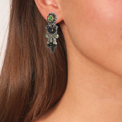 Handmade Boho Chandelier Vintage Earrings Ocean Drift - Anthos Crafts